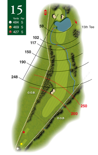 Photoshop style golf course hole diagram by K&M Golf
