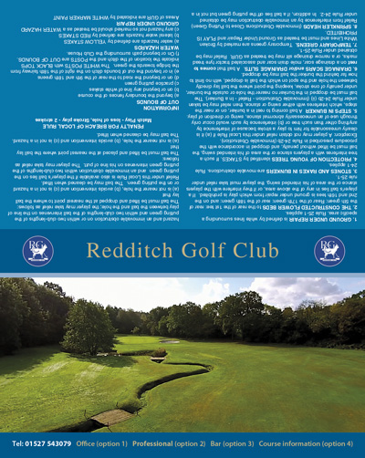 Redditch Golf Club golf scorecard cover by K&M Golf