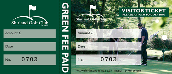 Full colour green fee bag tag by K&M Golf