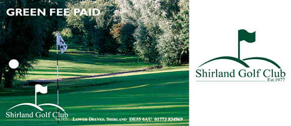 Shirland Golf Club green fee tag outside by K&M Golf