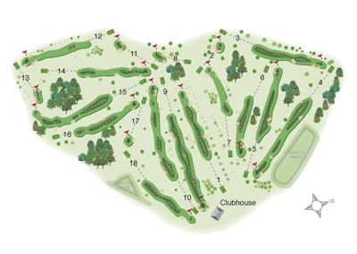 Wollaton Park Golf Club overall course map by K&M Golf