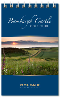 Bamburgh Castle Golf Club spiral bound yardage book printed on premium card stock by K&M Golf