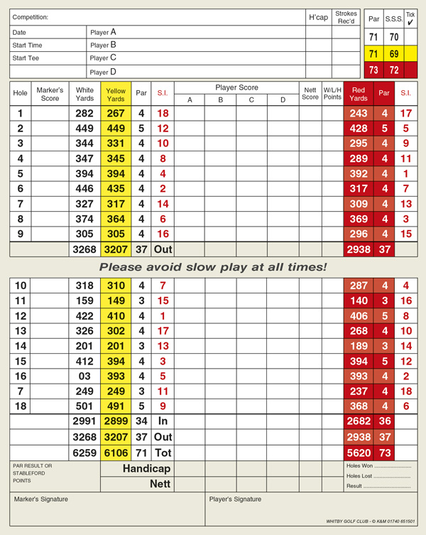 Whitby Golf Club golf score grid by K&M Golf
