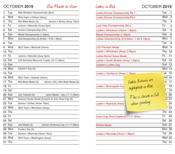 One month to view diary layout with Ladies fixture entires highlighted in Red by K&M Golf