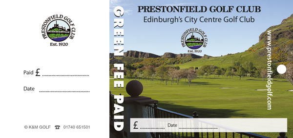 Premium large sized full colour green fee tags by K&M Golf