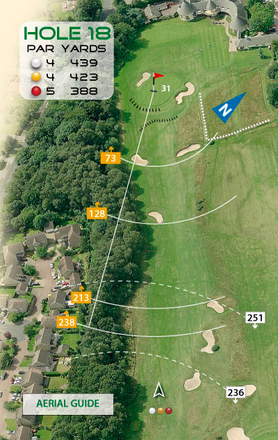 Aerial style golf course hole diagram by K&M Golf
