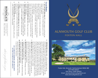 Alnmouth Golf Club golf scorecard cover by K&M Golf