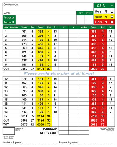 Alwoodley Golf Club golf score grid by K&M Golf