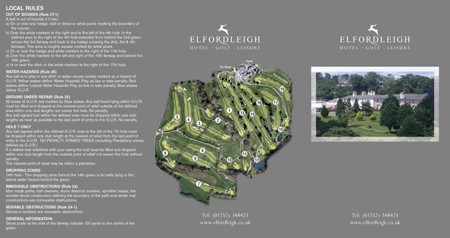 Elfordleigh Golf Club two fold scorecard cover by K&M Golf