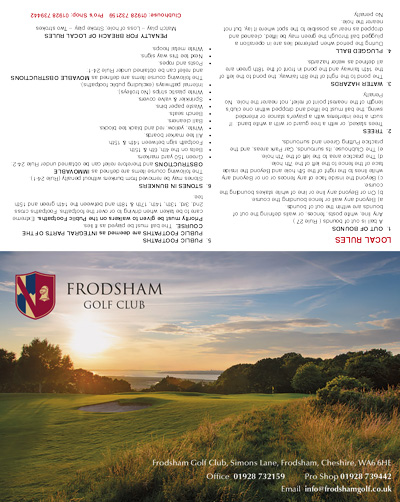 Frodsham Golf Club single fold golf scorecard cover by K&M Golf