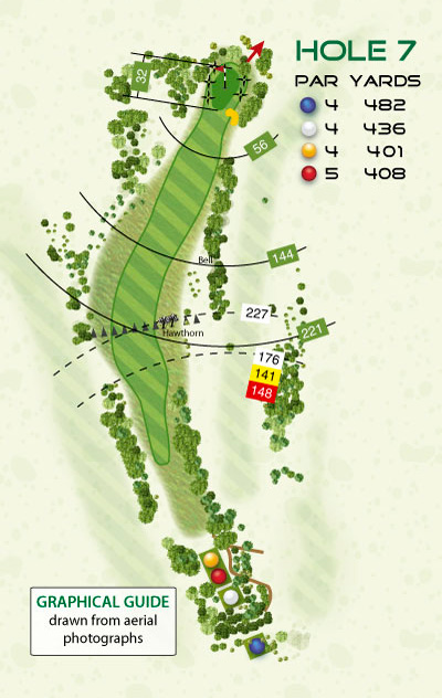 Graphical Illustrator style golf course hole diagram by K&M Golf