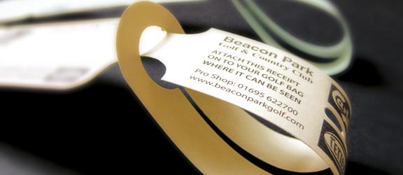 Self Tie green fee bag tags by K&M Golf