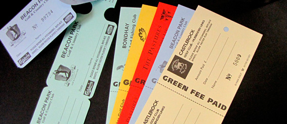 Selection of one colour green fee bag tags by K&M Golf. Samples include Style 3 and Self Tie