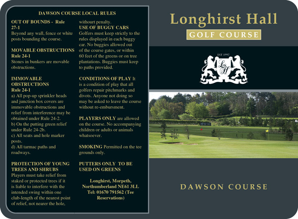 Longhirst Hall scorecard with rounded corners by K&M Golf