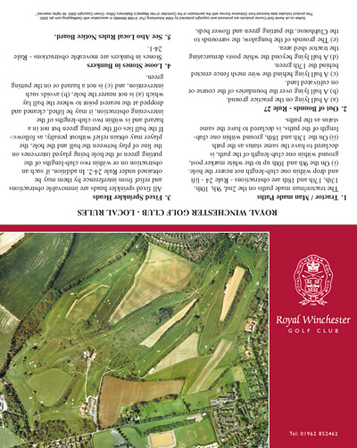 Royal Winchester Golf Club golf scorecard cover by K&M Golf