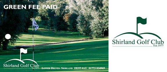 Shirland Golf Club green fee tag outside by K&M Golf
