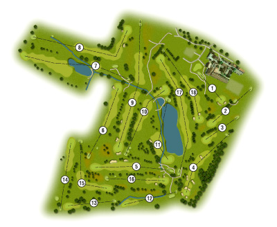 Windmill Village Golf Club Photoshop style overall course map by K&M Golf