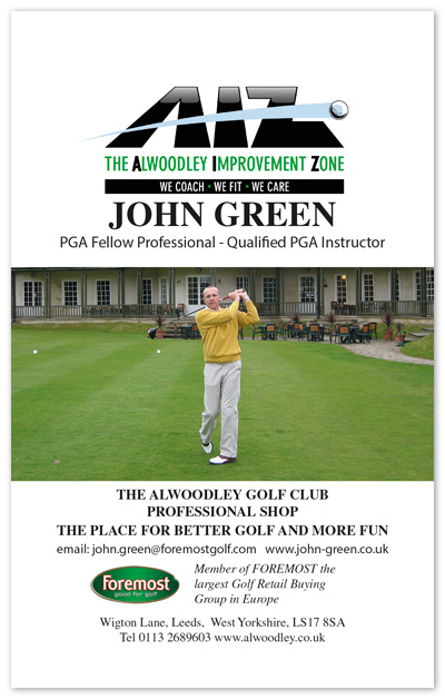 Sponsors advertisement forJohn Green PGA Professional at Alwoodley Golf Club in the K&M Golf yardage guide