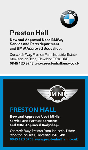 Preston Hall Mini sponsors advertisement in a K&M Golf yardage guide