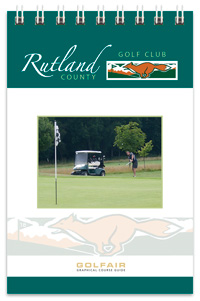 Rutland County Golf Club spiral bound yardage book with full colour gloss laminated cover by K&M Golf