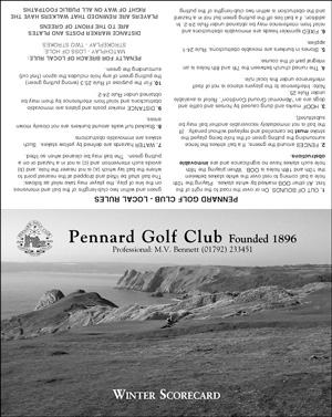 Pennard Golf Club emergency golf scorecard cover by K&M Golf