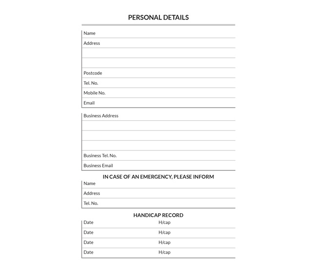 A place to record your personal details in golf diaries by K&M Golf